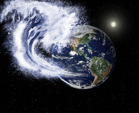 A huge wave threatens the planet  Stock Photo - 24733891