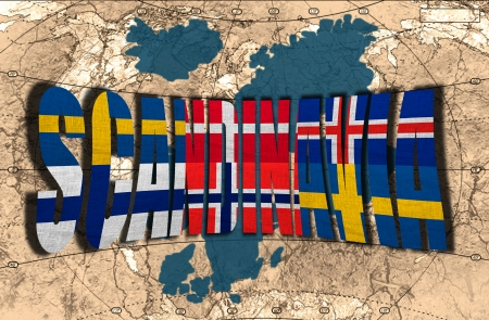 Map, word and flags of Scandinavia on the political map of the world photo