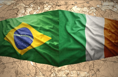 irish map: Waving Irish and Brazilian flags of the political map of the world