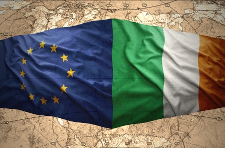 irish map: Waving Irish and European Union flags of the political map of the world