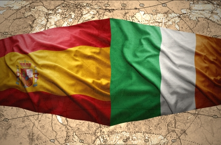 irish map: Waving Irish and Spanish flags of the political map of the world