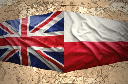 Waving Polish and British flags of the political map of the world Stock Photo - 24964166