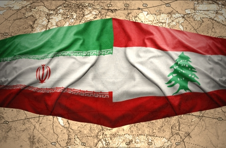 lebanese: Waving Lebanese and Iranian flags on the of the political map of the world Stock Photo