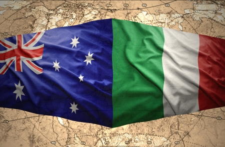 Waving Italian and Australian flags of the political map photo