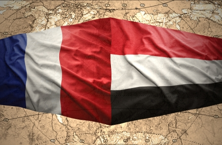 mideast: Waving Yemeni and French flags on the of the political map of the world
