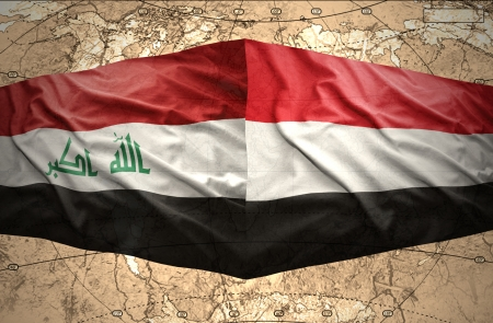 iraq conflict: Waving Yemeni and Iraqi flags on the of the political map of the world Stock Photo