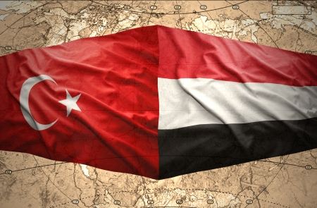 mideast: Waving Yemeni and Turkish flags on the of the political map of the world Stock Photo
