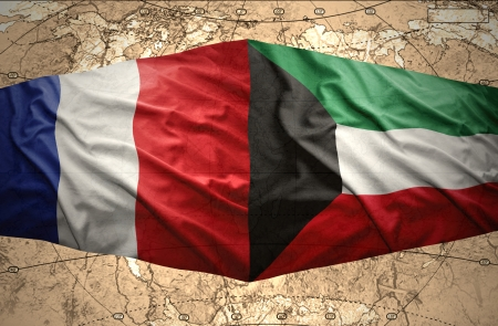 mideast: Waving Kuwait and French flags on the of the political map of the world