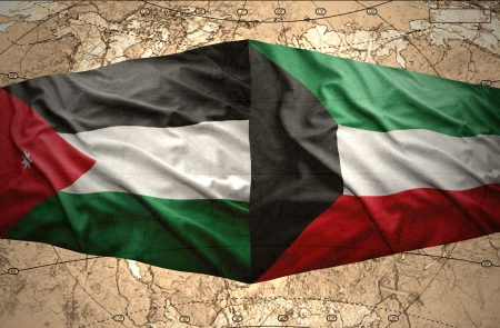 kuwait: Waving Kuwait and Jordan flags on the of the political map of the world