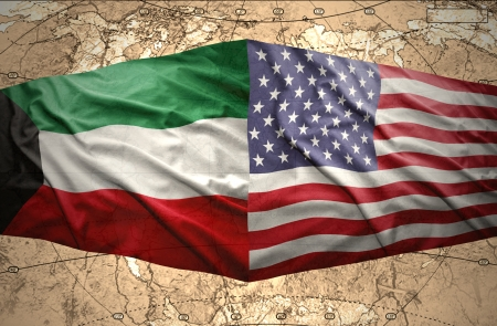 mideast: Waving Kuwait and American flags on the of the political map of the world