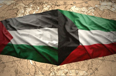 palestinian: Waving Kuwait and Palestinian flags on the of the political map of the world Stock Photo