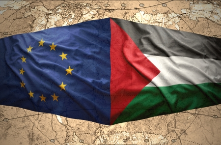 clash: Waving Palestinian and European Union flags on the of the political map of the world