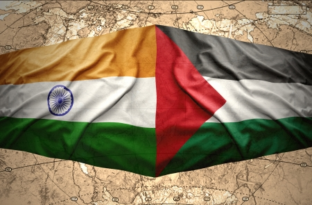 palestinian: Waving Palestinian and Indian flags on the of the political map of the world