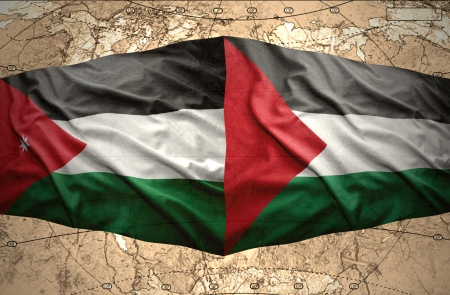 mideast: Waving Palestinian and Jordan flags on the of the political map of the world