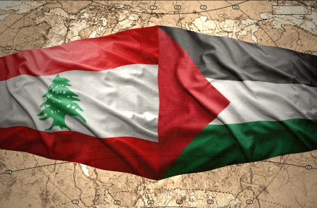 lebanese: Waving Palestinian and Lebanese flags on the of the political map of the world