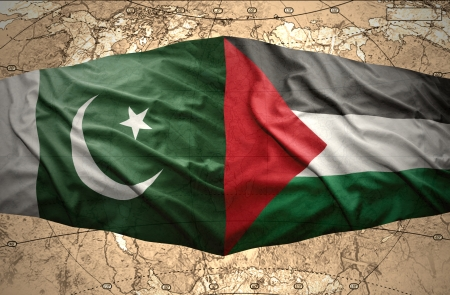 clash: Waving Palestinian and Pakistani flags on the of the political map of the world