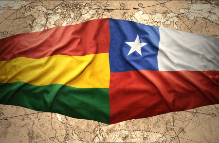 chilean: Waving Bolivian and Chilean flags on the of the political map of the world