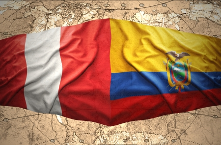 lima region: Waving Ecuadoran and Peruvian flags on the of the political map of the world