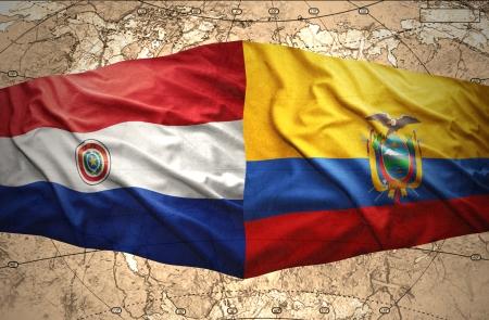 paraguayan: Waving Ecuadoran and Paraguayan flags on the of the political map of the world