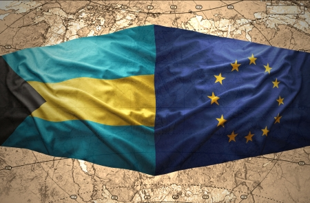 bahamian: Waving Bahamian and European Union flags on the of the political map of the world