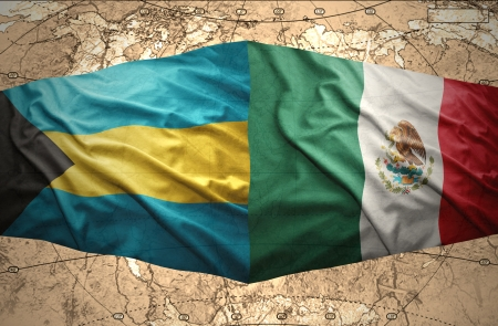 bahamian: Waving Bahamian and Mexican flags on the of the political map of the world