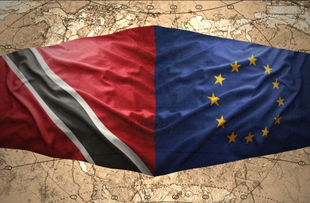 trinidadian: Waving Trinidadian and European Union flags on the of the political map of the world