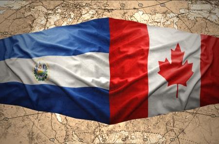 mapa de el salvador: Agitando El Salvador y banderas canadienses en la del mapa pol�tico del mundo