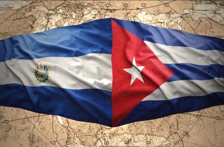 mapa de el salvador: Agitando El Salvador y banderas cubanas en el del mapa pol�tico del mundo