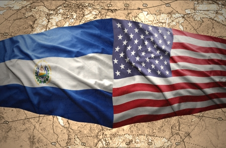 el salvador flag: Waving El Salvador and American flags on the of the political map of the world Stock Photo