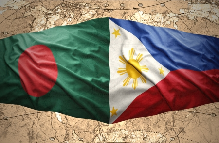 manila: Waving Philippine and Bangladesh flags of the political map of the world Stock Photo