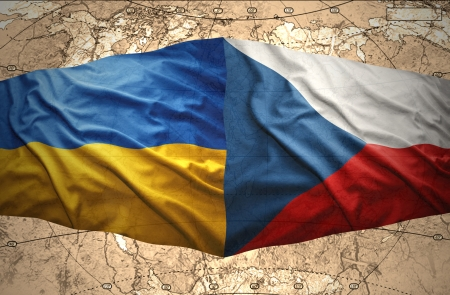 ukrainian flag: Waving Ukrainian and Czech flags of the political map of the world Stock Photo