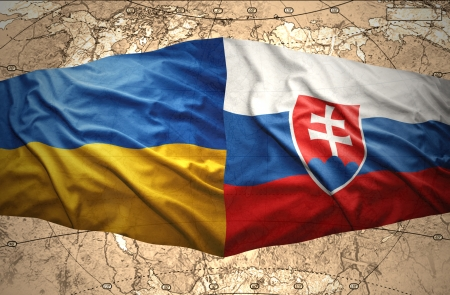 slovak: Waving Ukrainian and Slovak flags of the political map of the world