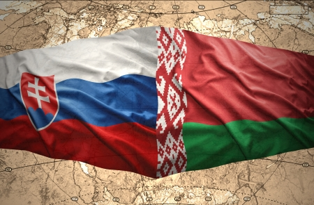 belorussian: Waving Slovak and Belorussian flags of the political map of the world