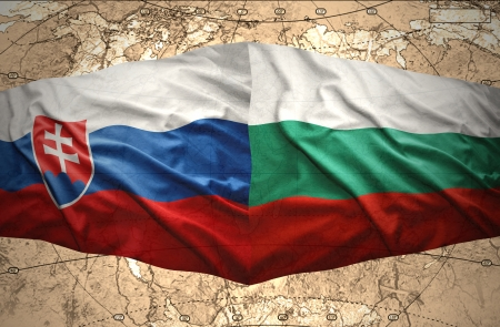 slovak: Waving Slovak and Bulgarian flags of the political map of the world
