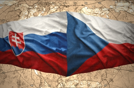Waving Slovak and Czech flags of the political map of the world Stock Photo