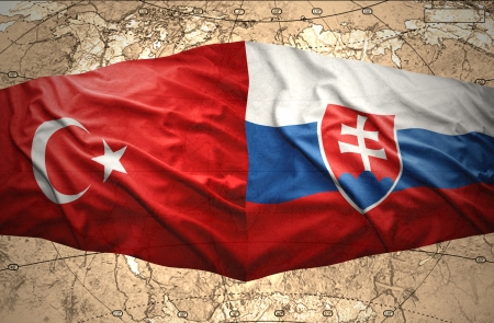 slovak: Waving Slovak and Turkish flags of the political map of the world