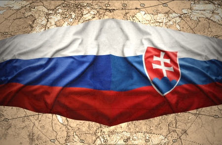 slovak: Waving Slovak and Russian flags of the political map of the world