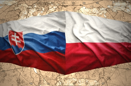 slovak: Waving Slovak and Polish flags of the political map of the world