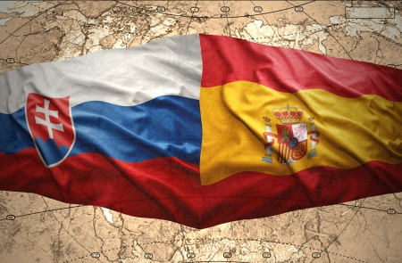 slovak: Waving Slovak and Spanish flags of the political map of the world
