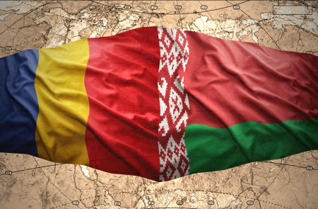 belorussian: Waving Romanian and Belorussian flags of the political map of the world Stock Photo