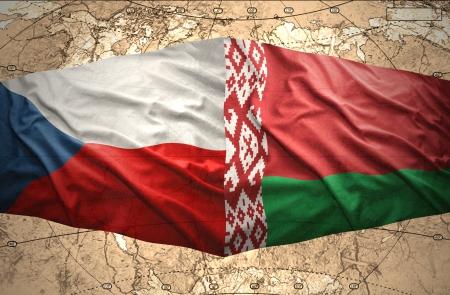 belorussian: Waving Czech and Belorussian flags of the political map of the world Stock Photo