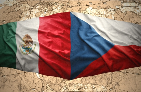 Waving Czech and Mexican flags of the political map of the world photo