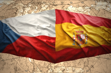 Waving Czech and Spanish flags of the political map of the world photo
