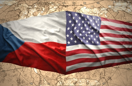 Waving Czech and American flags of the political map of the world photo