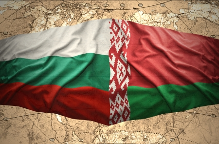belorussian: Waving Bulgarian and Belorussian flags of the political map of the world