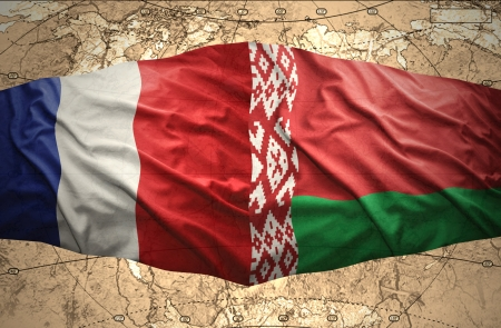 belorussian: Waving Belorussian and French flags of the political map of the world