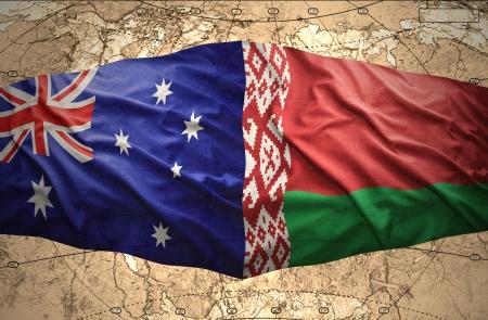 belorussian: Waving Belorussian and Australian flags of the political map of the world