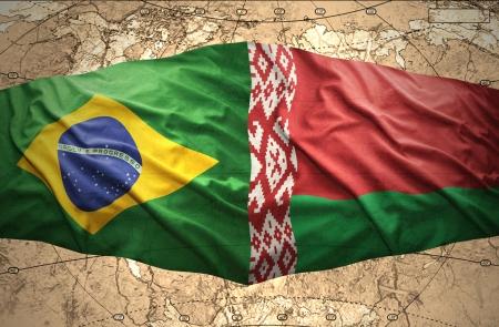 belorussian: Waving Belorussian and Brazilian flags of the political map of the world