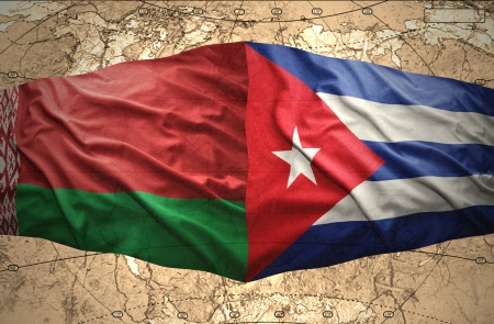 belorussian: Waving Belorussian and Cuban flags of the political map of the world