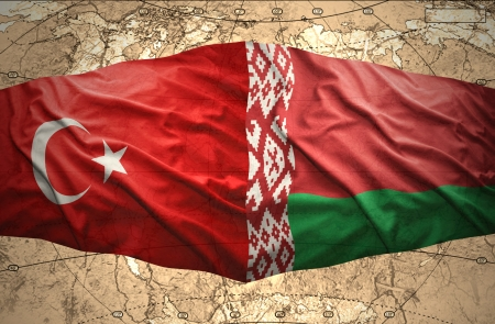 belorussian: Waving Belorussian and Turkish flags of the political map of the world